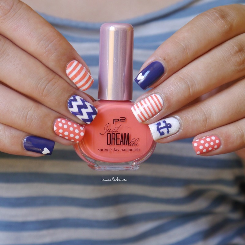 nautical skittle nails nail art by irma