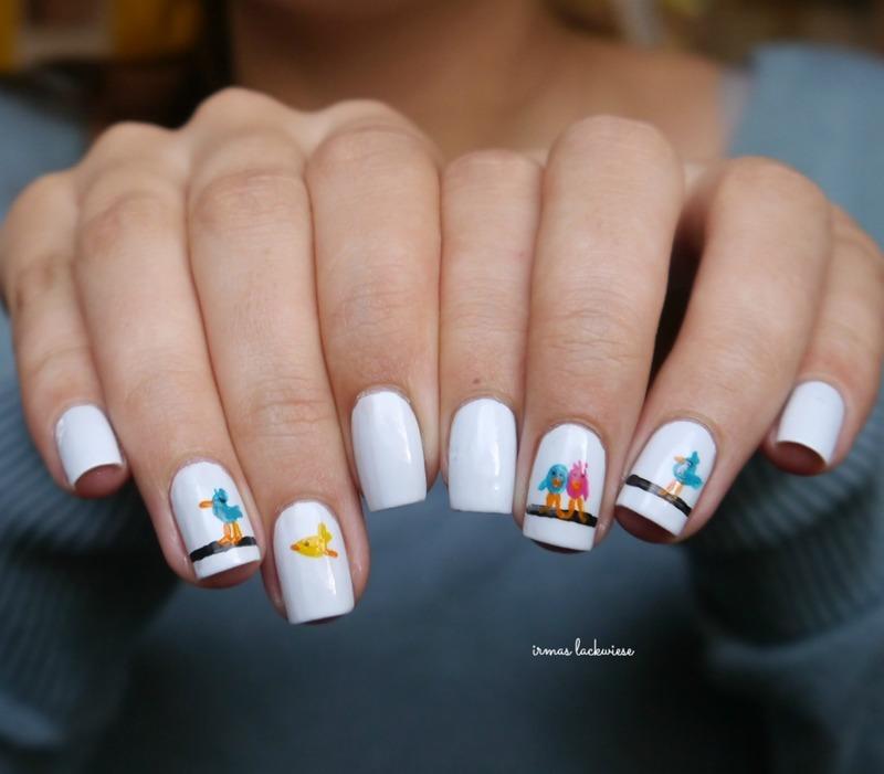little birds, nail art by irma