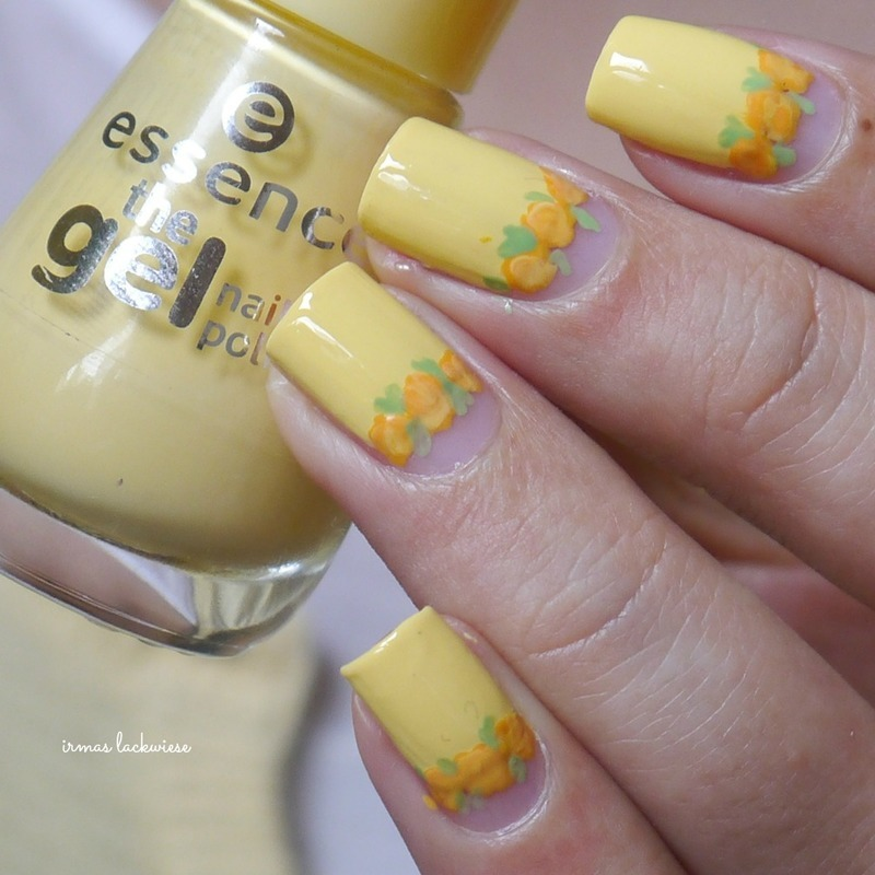 yellow roses nail art by irma