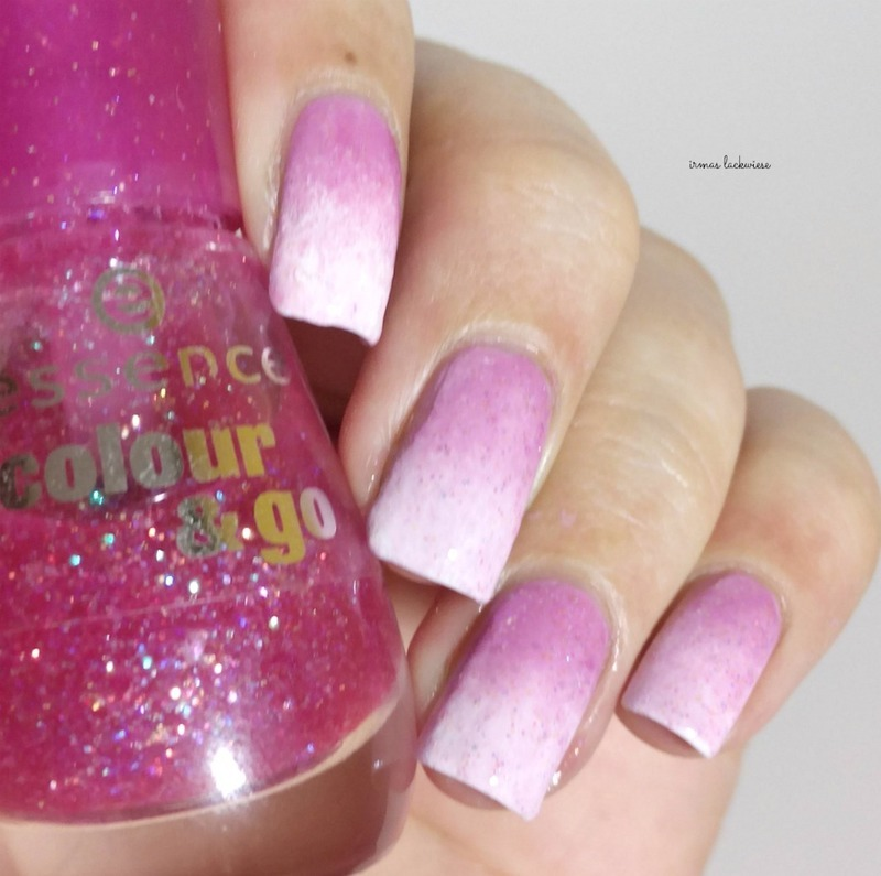 pink white glitter gradient nail art by irma