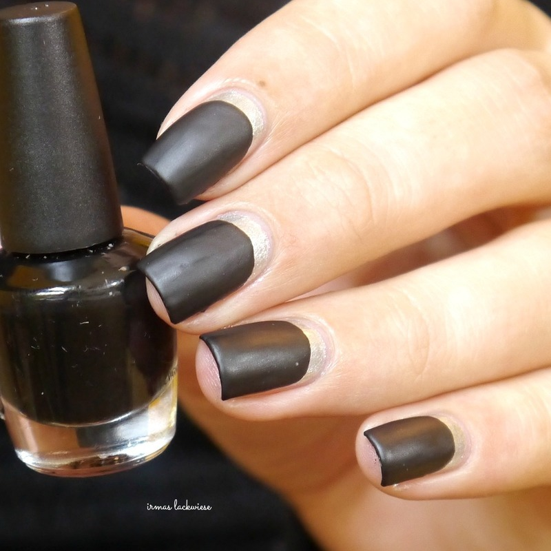black and silver ruffian nail art by irma