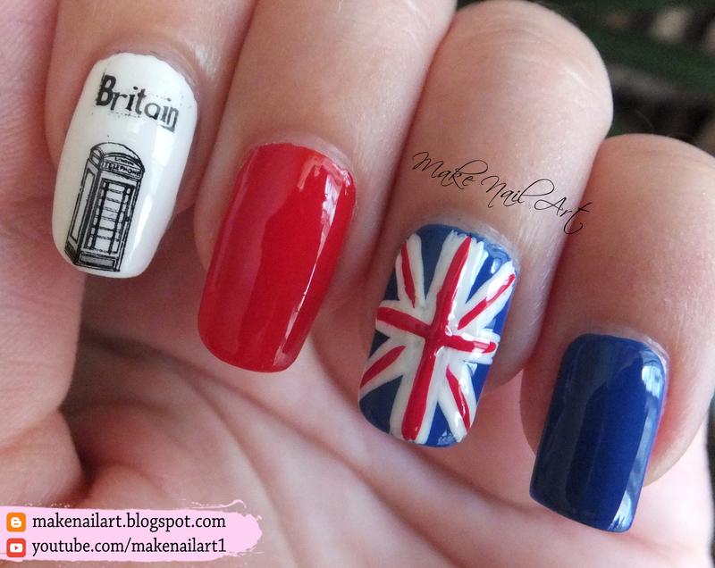 UK Flag Nail Art Design nail art by Make Nail Art