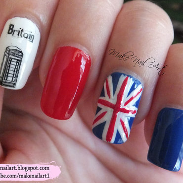 UK Flag Nail Art Design nail art by Make Nail Art