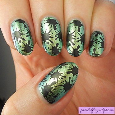 Stamped splatter nail art thumb370f