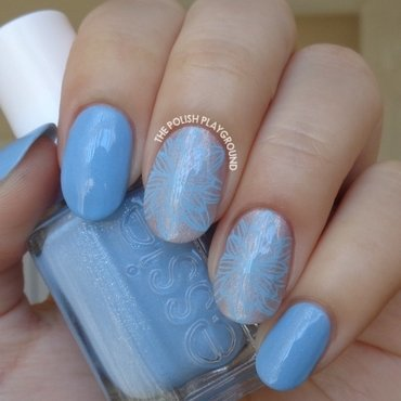 Pale Lilac with Light Blue Full Flower Stamping nail art by Lisa N