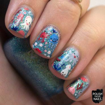Blue sparkly sea creatures nail art 4 thumb370f