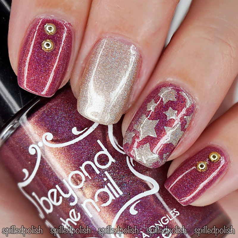 Burgundy & Gold Star Nails  nail art by Maddy S