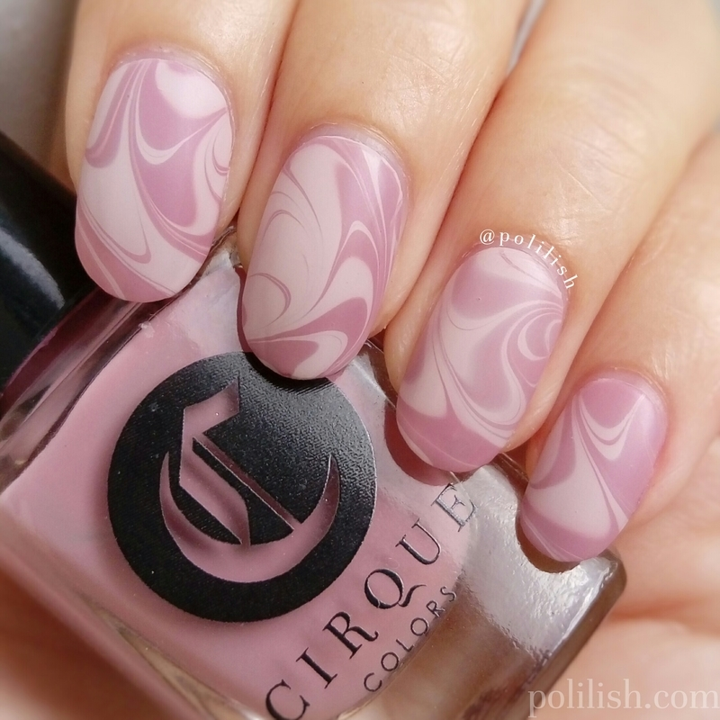 Pink swirly watermarble nail art by polilish