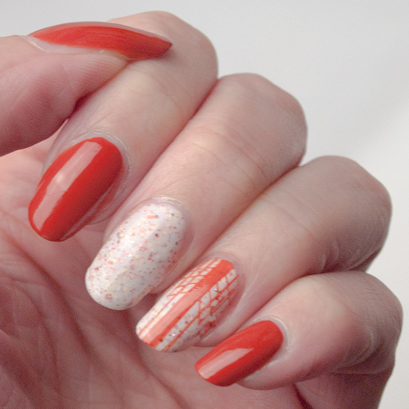 Orange-n-white manicure nail art by What's on my nails today?