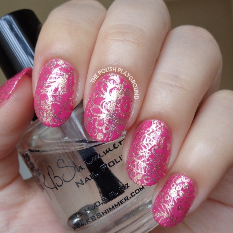 Pink Gold Foil with Rosy Leaf and Floral Stamping nail art by Lisa N