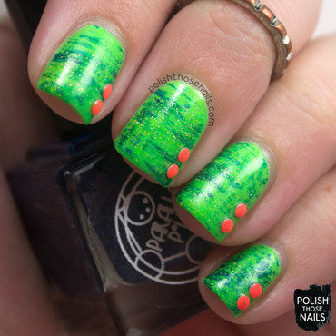 Neon green fan brush studded nail art 4 thumb370f