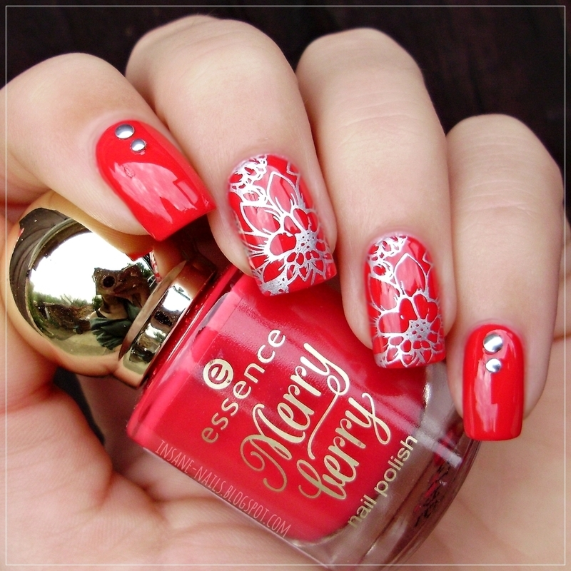 Red stamped nails with BPS nail studs nail art by Sanela
