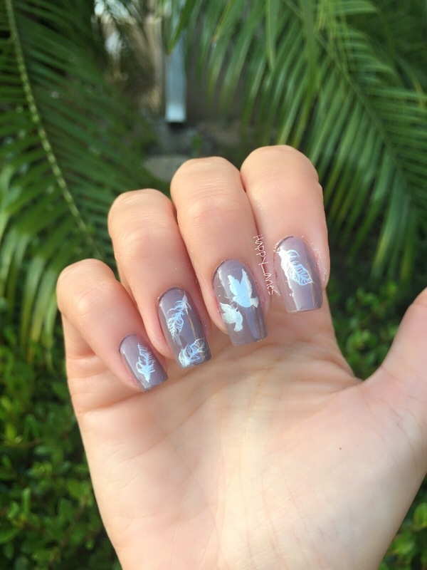 Doves' feathers  nail art by Happy_aries