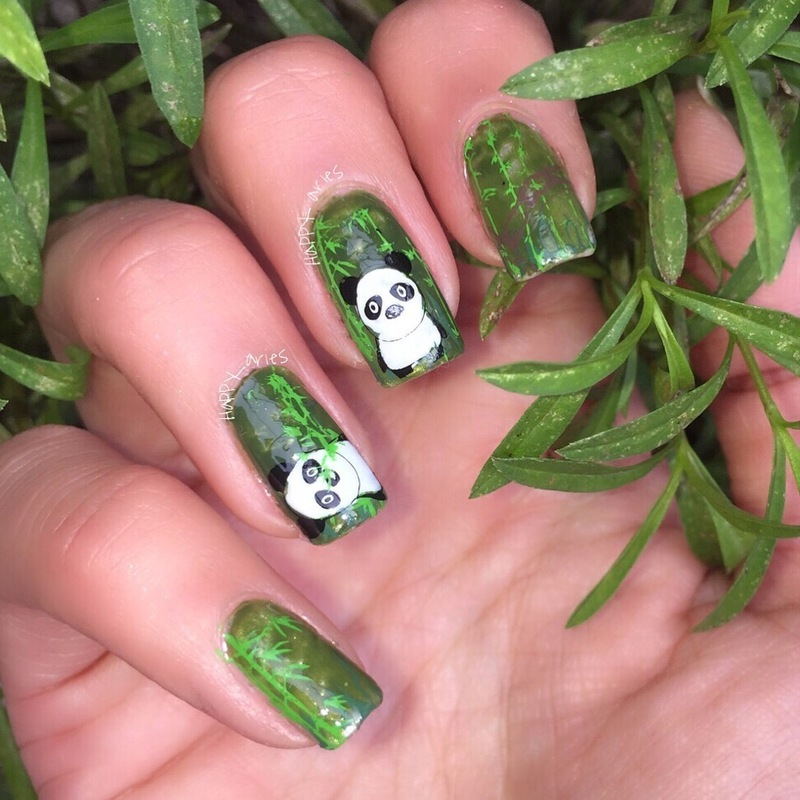 lets have a lazy panda day nail art by Happy_aries