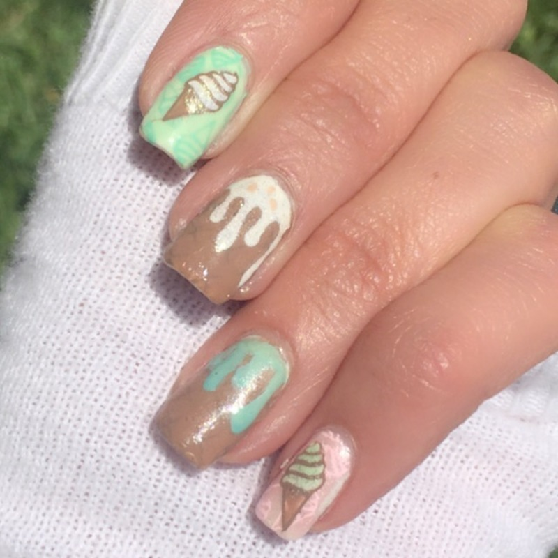 Butter pecan & pistachio ice cream any one?  nail art by Happy_aries