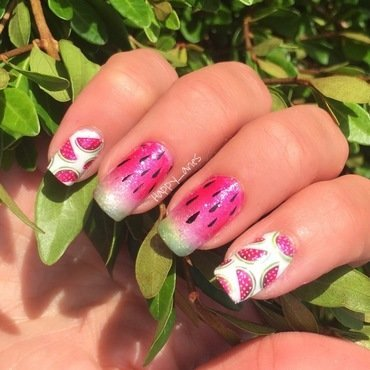 Watermelon on my nails  nail art by Happy_aries