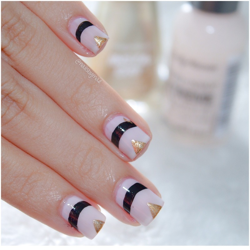 Nude, Black and Gold nail art by Sheily (NailsByMae)