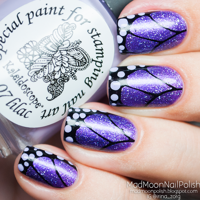 Purple Butterfly Wings nails nail art by Irina Zorg