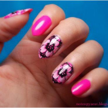 Bright and flowery nail art by notcopyacat