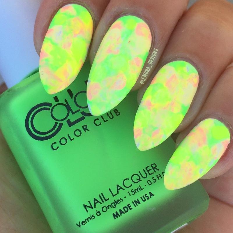 Neon Smush nail art by JMura_Designs