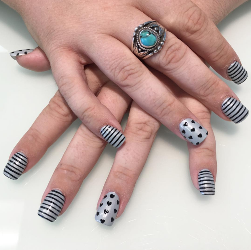 Hearts and stripes nail art by Kristen Lovett