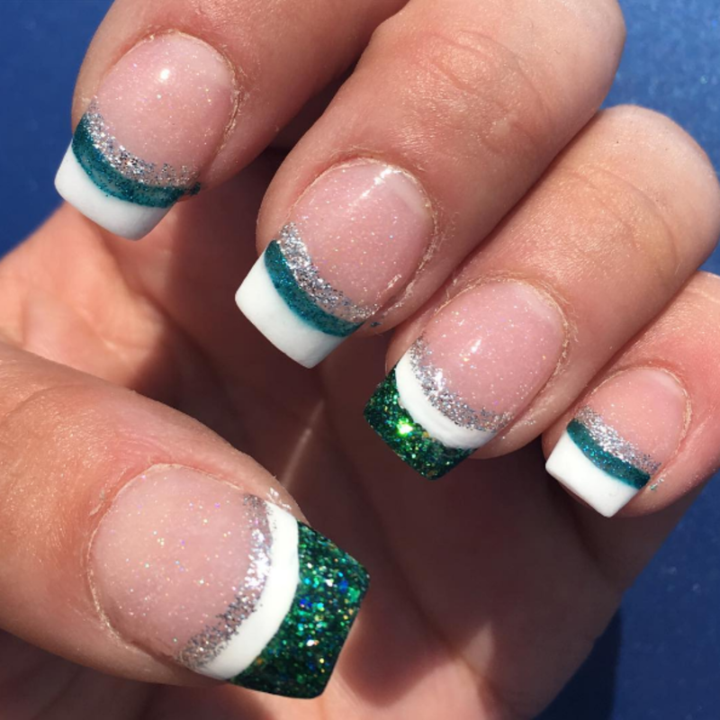 Glitter green tips nail art by Kristen Lovett