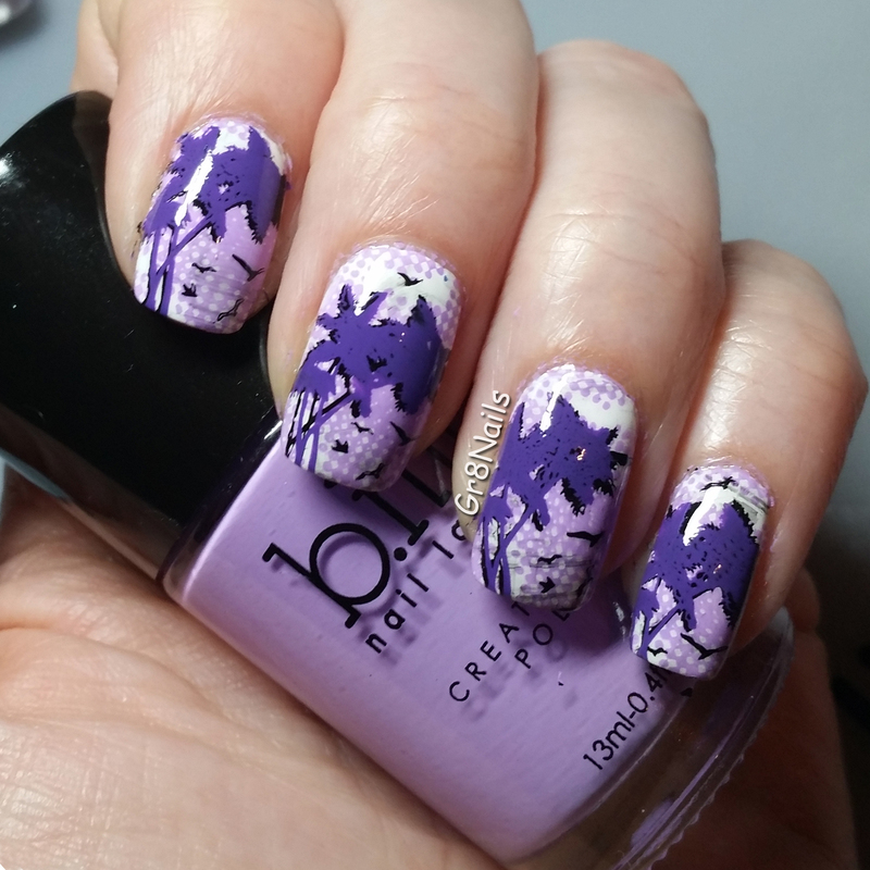 Purple Palm Trees nail art by Gr8Nails