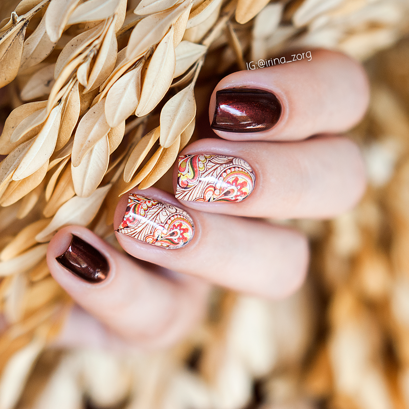 Brown autumn nails with water decals nail art by Irina Zorg ...