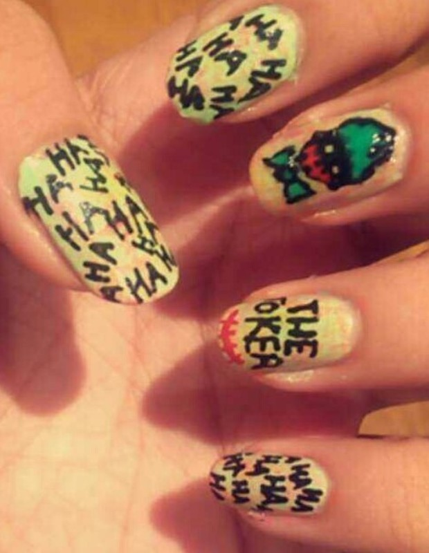 Joker Nails nail art by potterhead