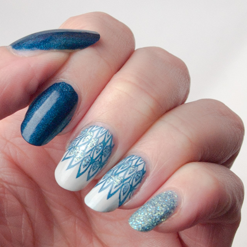 Peacock inspired skittlette nail art by What's on my nails today?