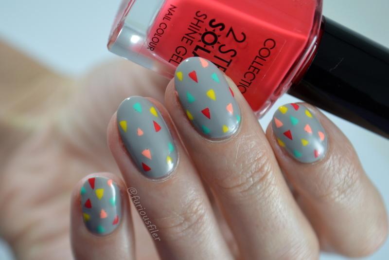 Colourful Geometric nail art by Furious Filer