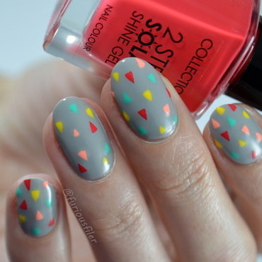 Colourful Geometric nail art by Furious Filer