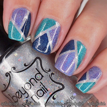 Holo Colour Blocking nail art by Maddy S