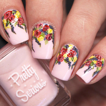 Dusty Floral Bouquet nail art by Emiline Harris