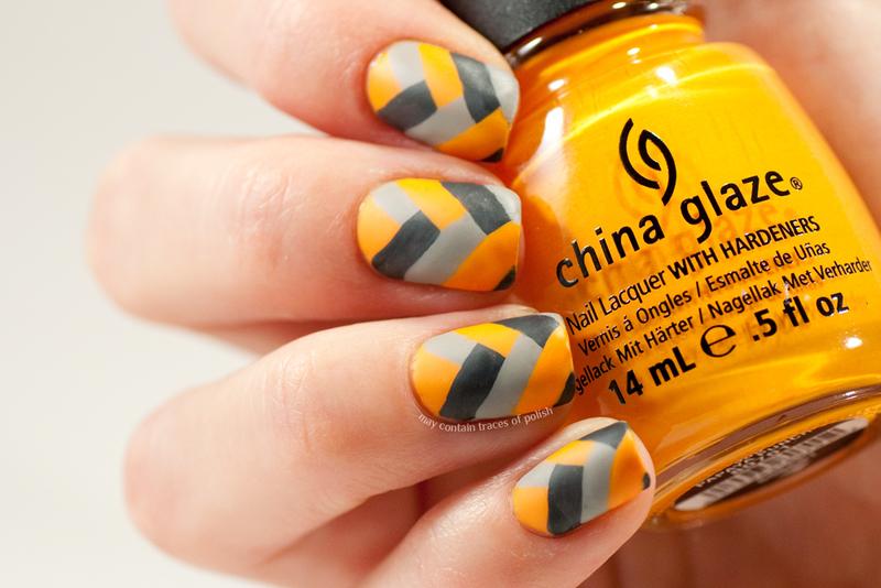 Grey and orange fishbraid nail art by Zara TracesOfPolish