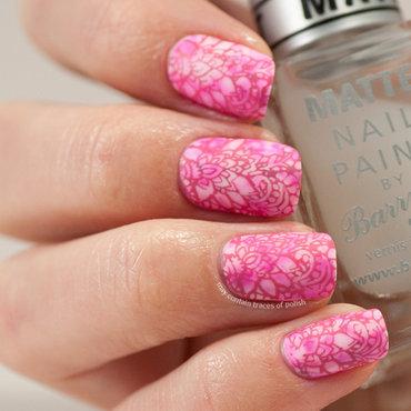 Pink stamping nail art by Zara TracesOfPolish