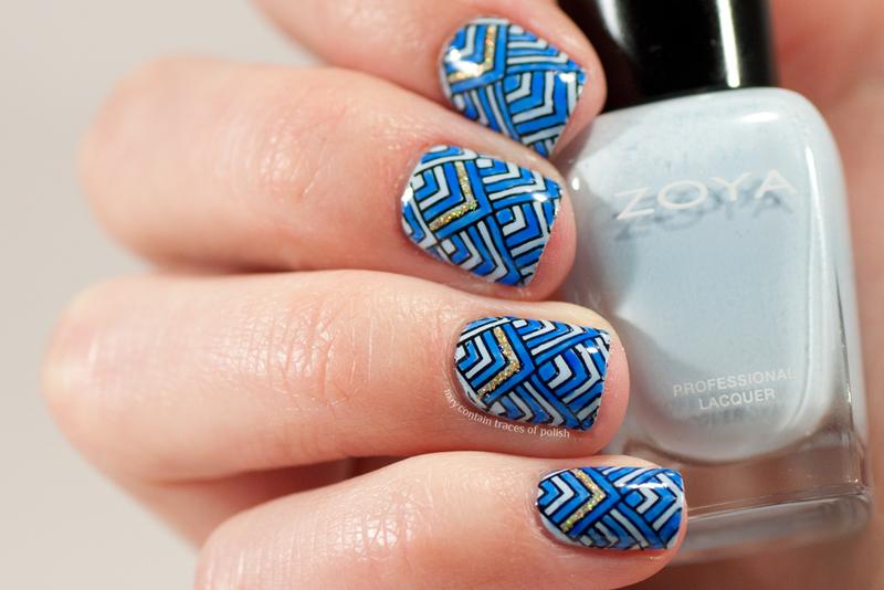 Blue chevron nails nail art by Zara TracesOfPolish