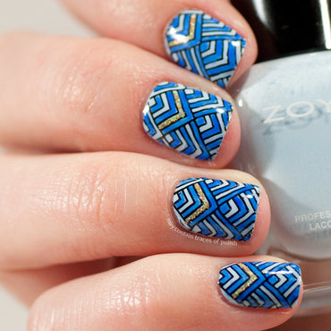 Blue chevron nails nail art by Zara TracesOfPolish