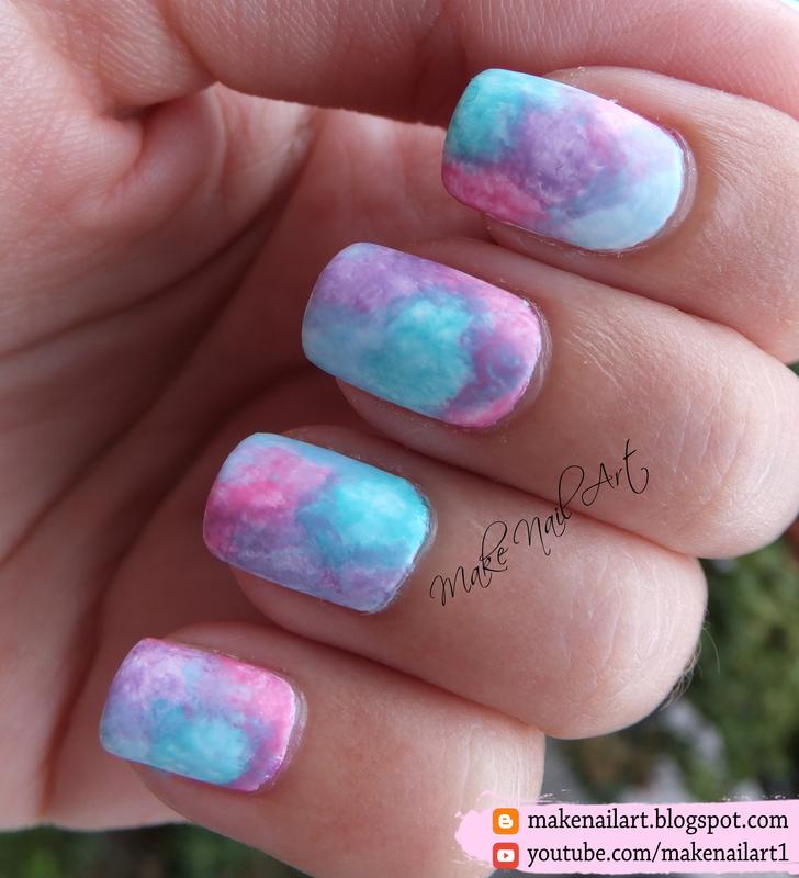 Pastel Watercolor Nail Art Design nail art by Make Nail Art