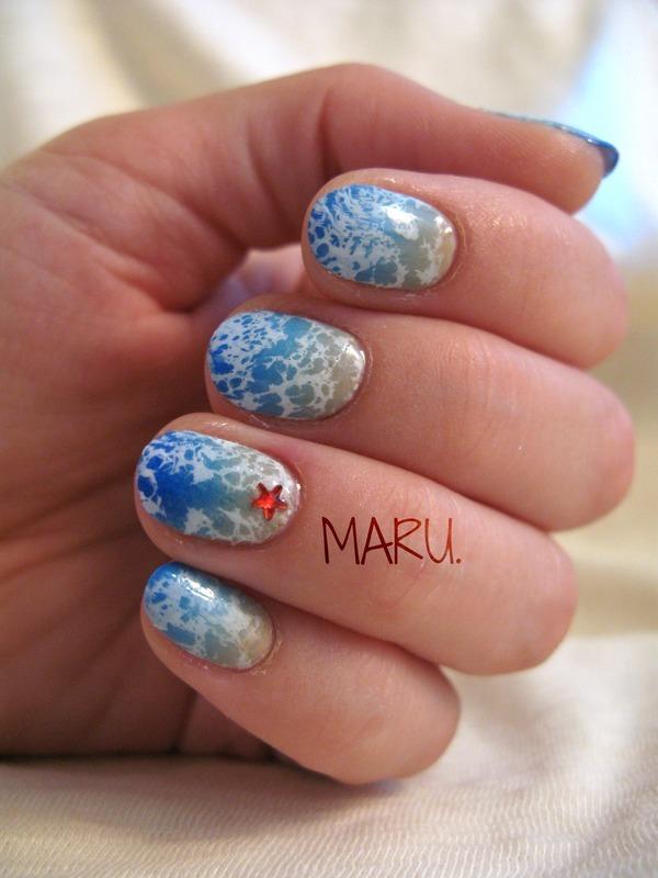 Waves nail art by Martina