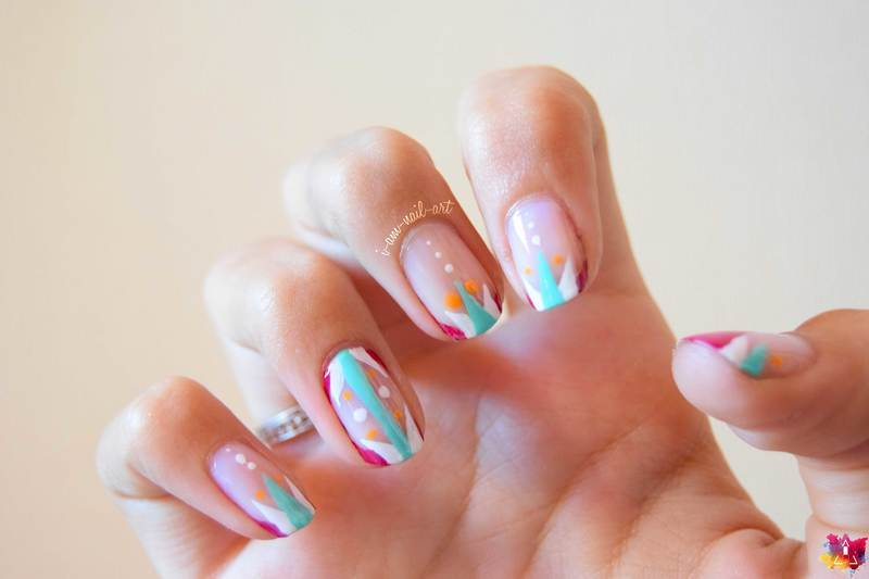 Geometric French  nail art by i-am-nail-art