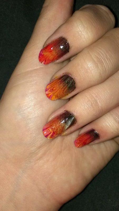 flames watermarble nail art by Sabina Salomonsson