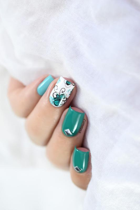 Floral Skittlette nail art by Marine Loves Polish