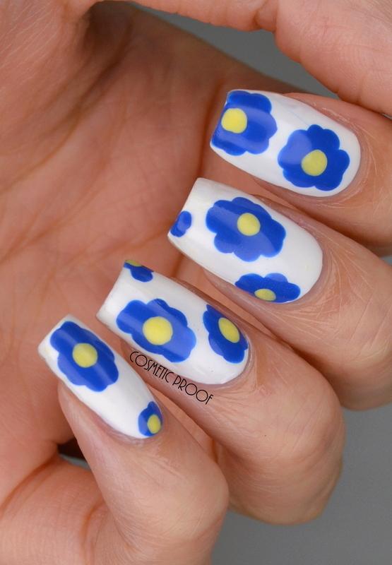 Marimekko Inspired Blue Flowers nail art by Jayne
