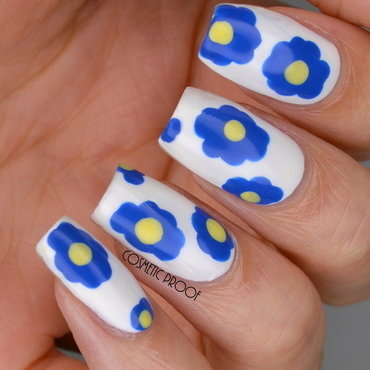 Marimekko Inspired Blue Flowers nail art by Jayne