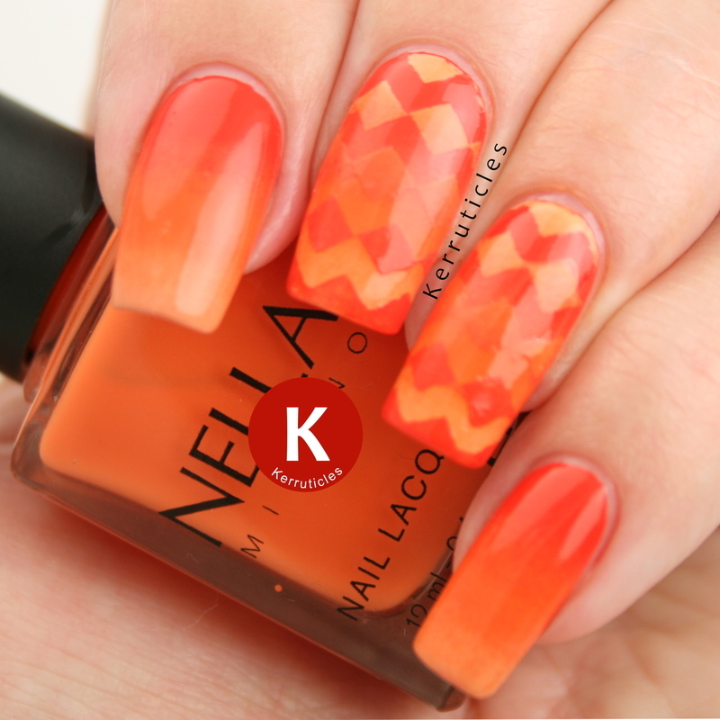 Orange reciprocal gradient zigzags nail art by Claire Kerr