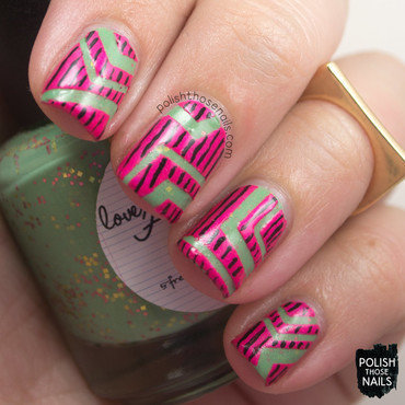 Love angeline dont ruffle my feathers green glitter crelly neon pink geometric nail art 3 thumb370f