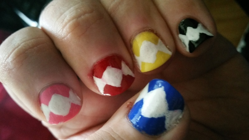 Power Rangers nail art by Rob Arnold