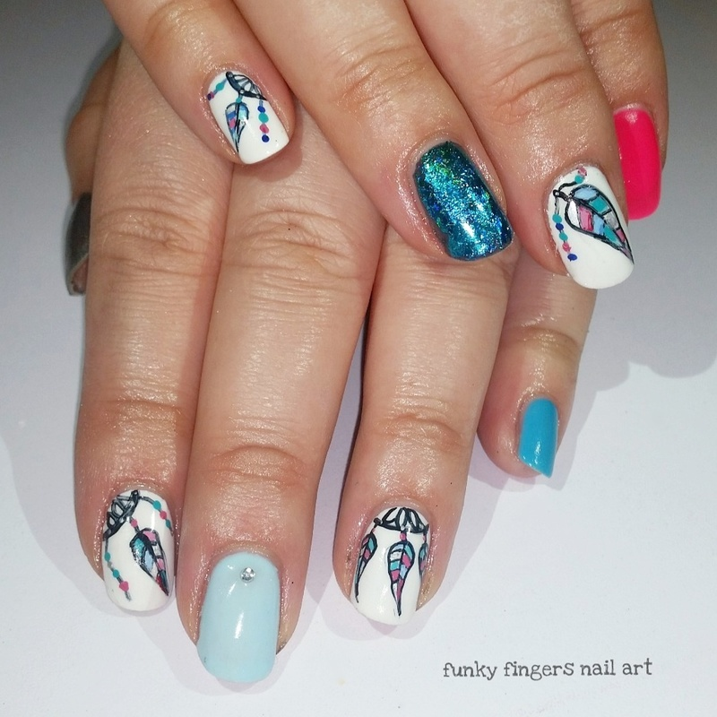 Dreamcatcher nails nail art by Funky fingers nail art