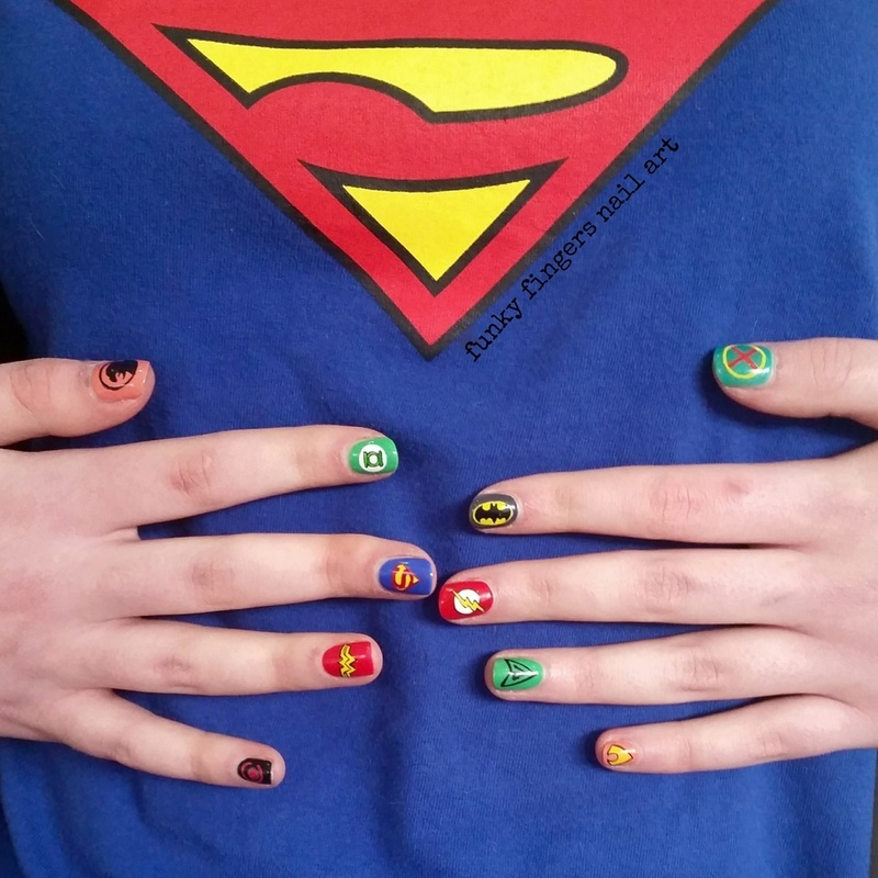 Justice League nails nail art by Funky fingers nail art
